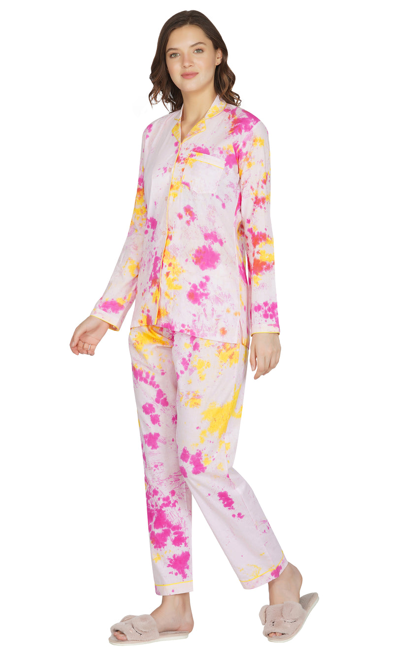 Pink Tie and Dye Night Suit- Set of 2