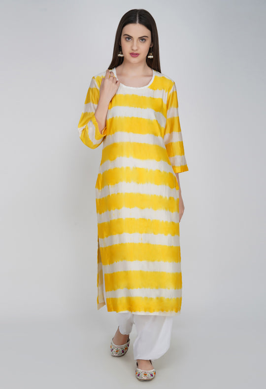 Yellow Tie and Dye Chanderi Silk Kurta with Salwar - Set of 2