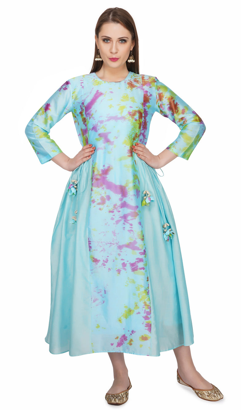 Blue Marble Dye Centre Panel Dress