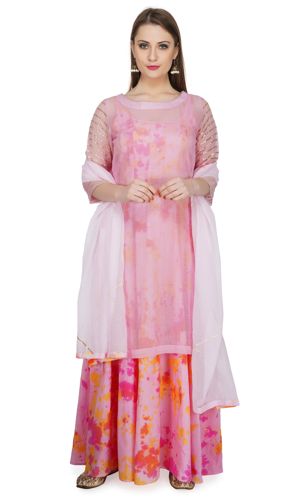 Pink Kota Kurta with Crinkle Marble Dyed Dress and Dupatta- Set of 3