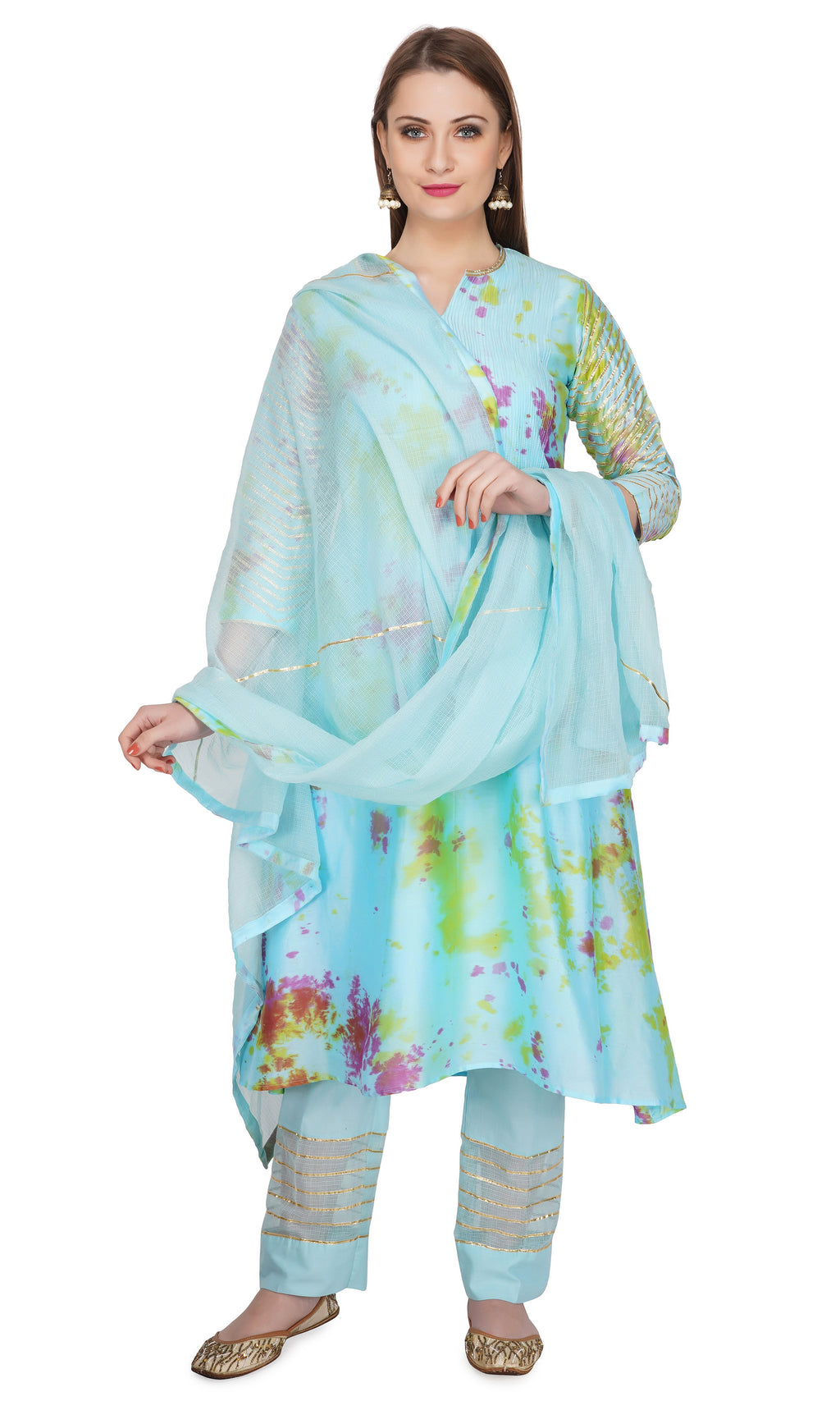 Blue Marble Dye Pintucks Kurta - Set of 3