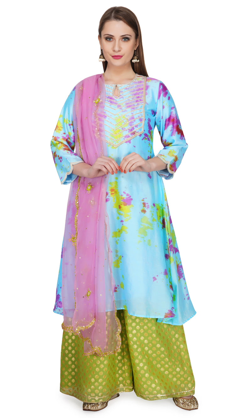 Pink Marble Dye Pintucks Kurta - Set of 3