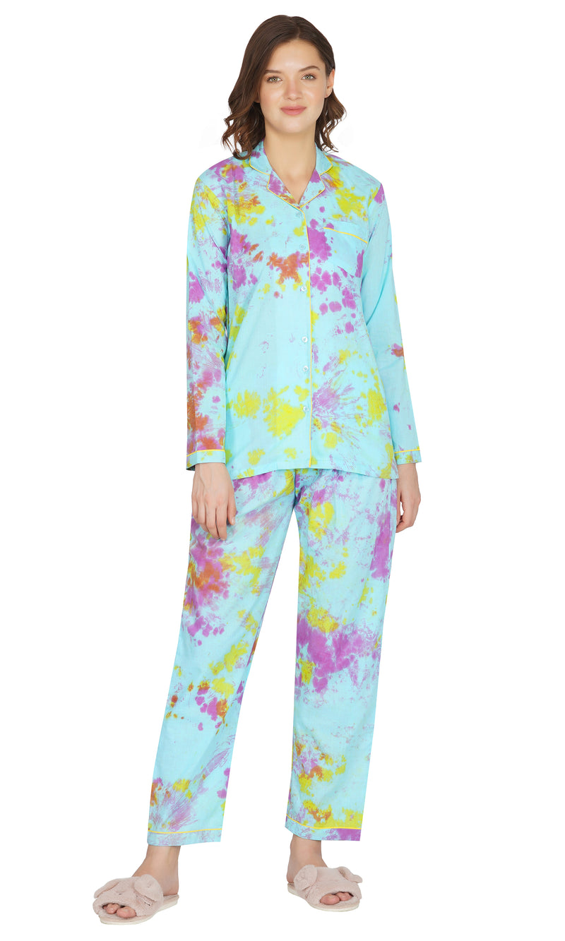 Blue Tie and Dye Night Suit- Set of 5
