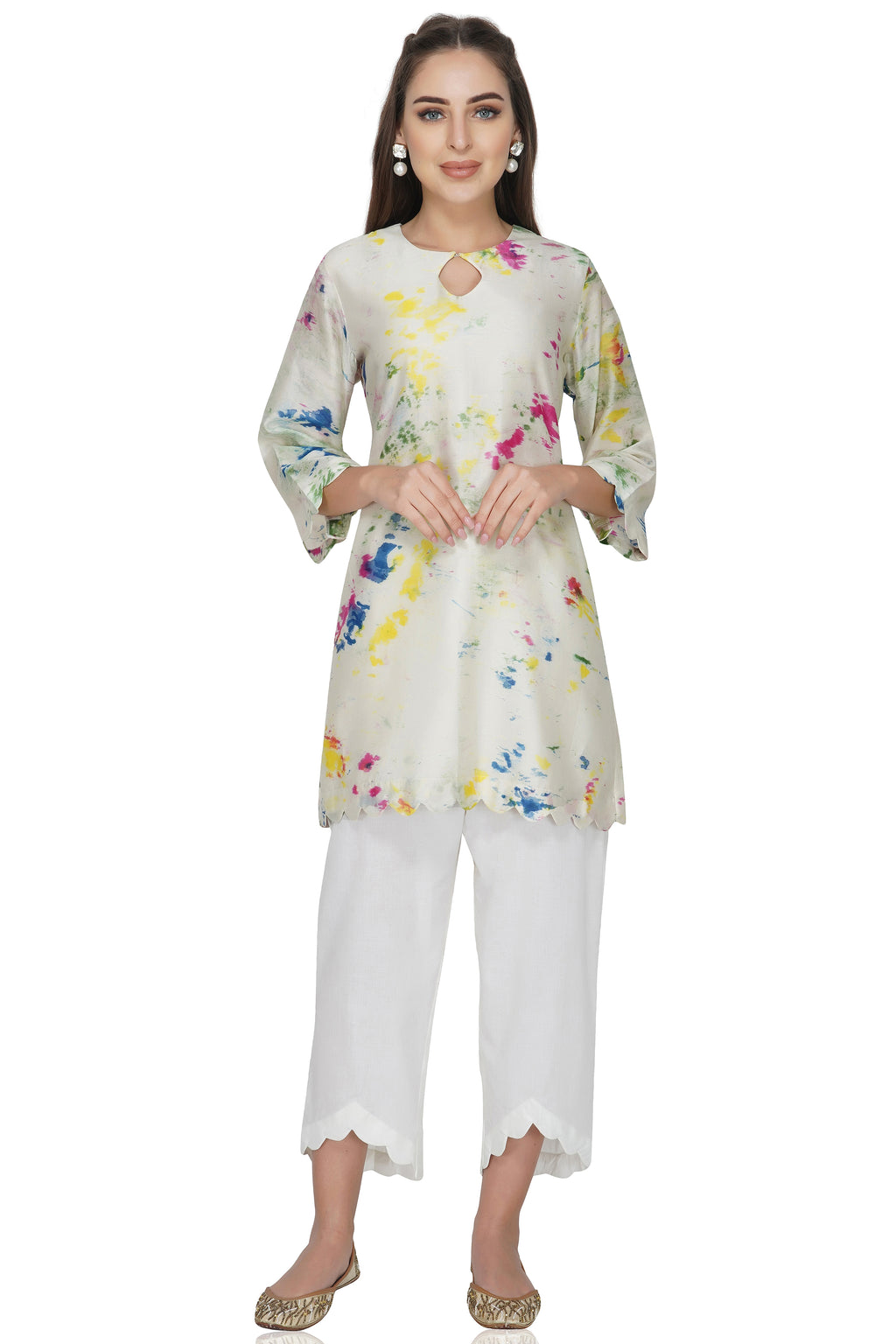 Cream Tie and Dye Chanderi Silk Kurta with White Cotton Pants - Set of 2