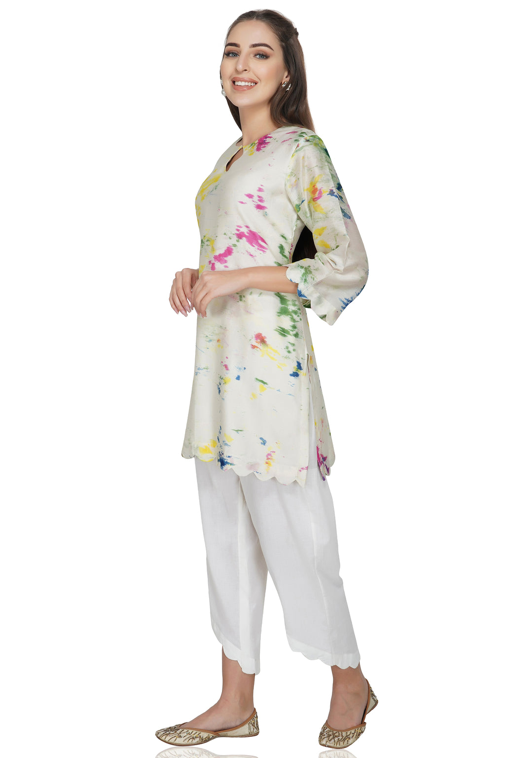 Cream Tie and Dye Chanderi Silk Kurta