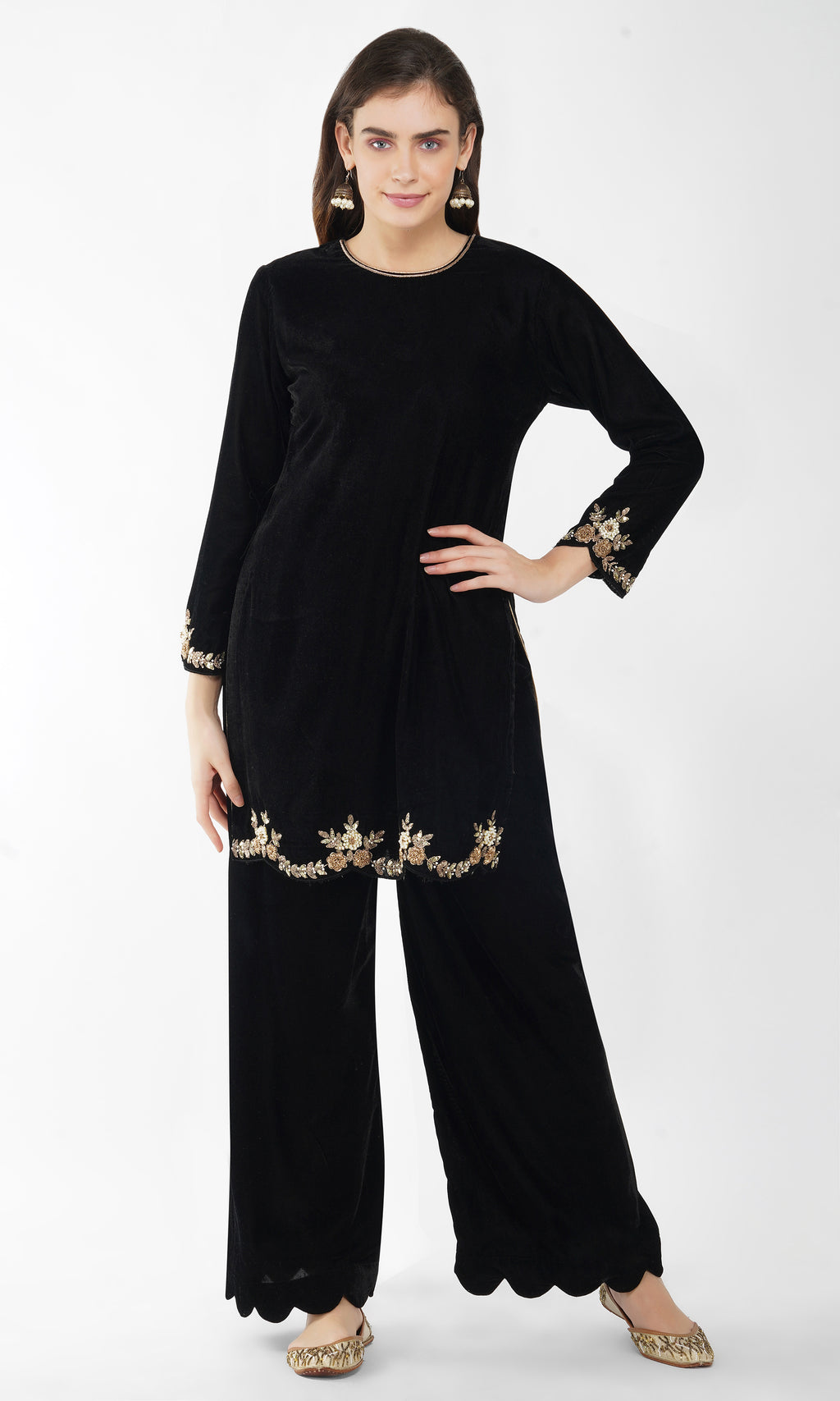 Black Velvet Embroidered Kurta - Set of 3