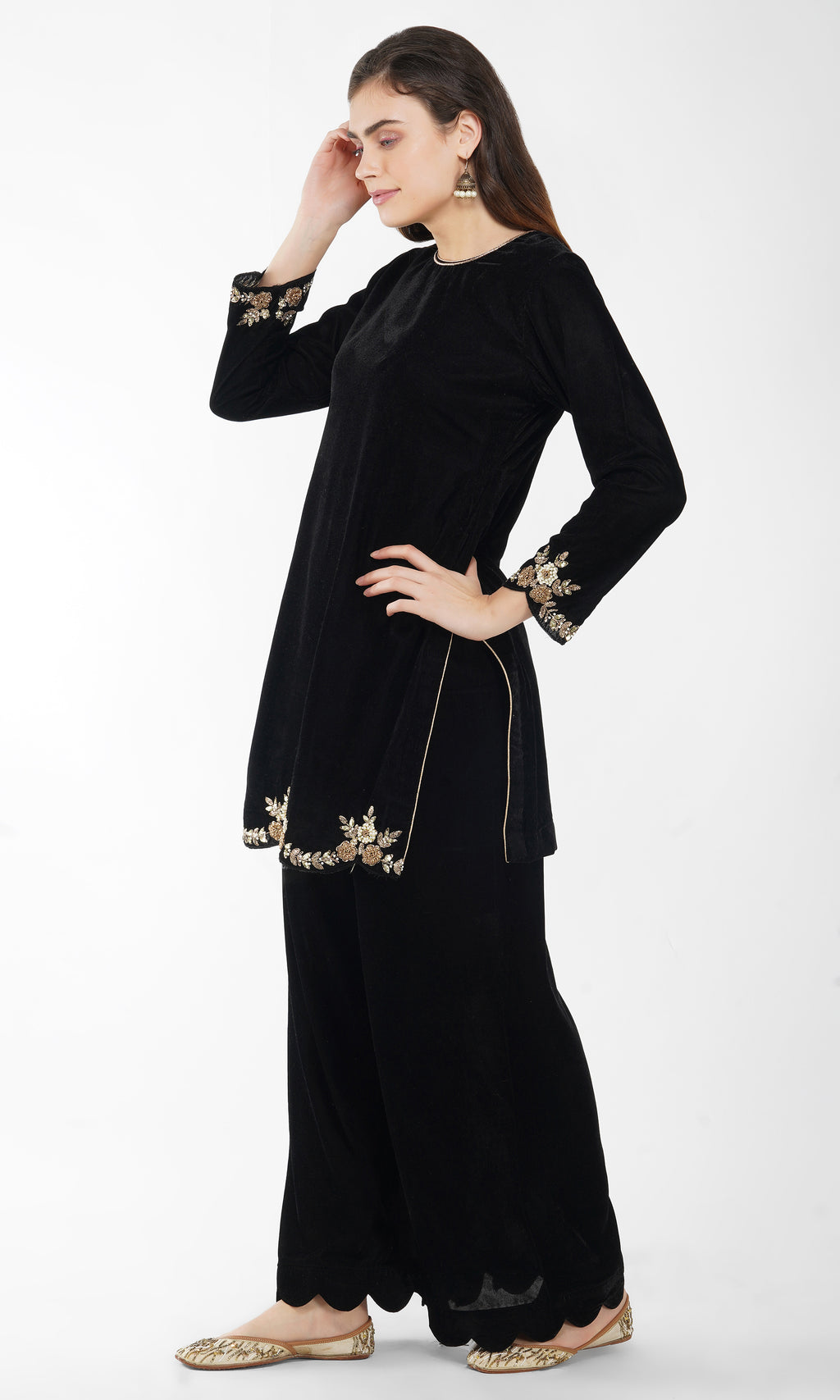 Black Embroidered Kurta Set of 2