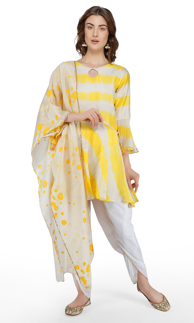 Yellow Tie and Dye Suit - Set of 3