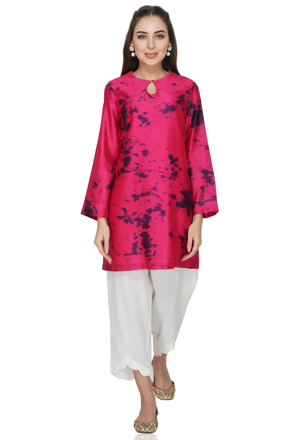 Maroon Tie and Dye Chanderi Silk Kurta