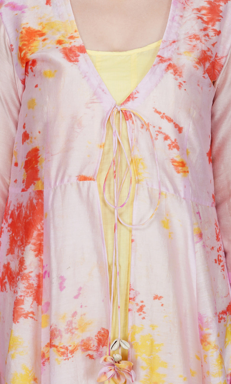 Pink Marble Dye Jacket with Crinkle Dress- Set of 2