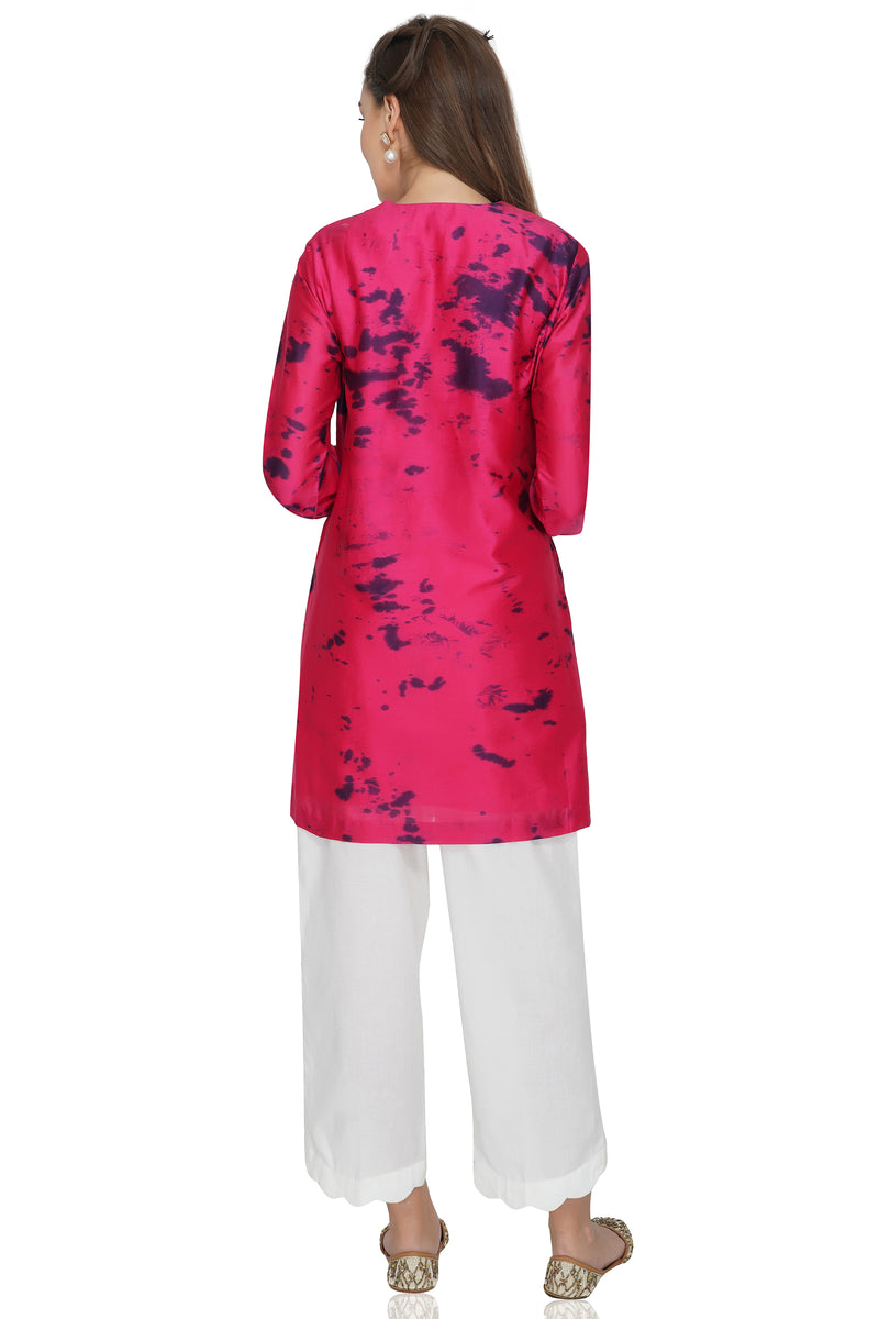 Maroon Tie and Dye Chanderi Silk Kurta with White Cotton Pants - Set of 2