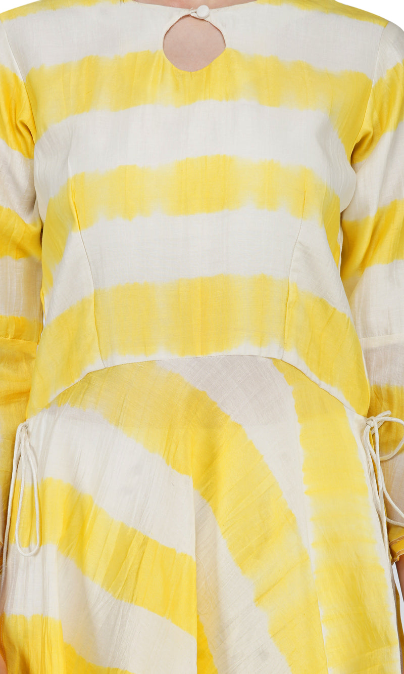 Yellow Tie and Dye Dhoti Suit - Set of 3
