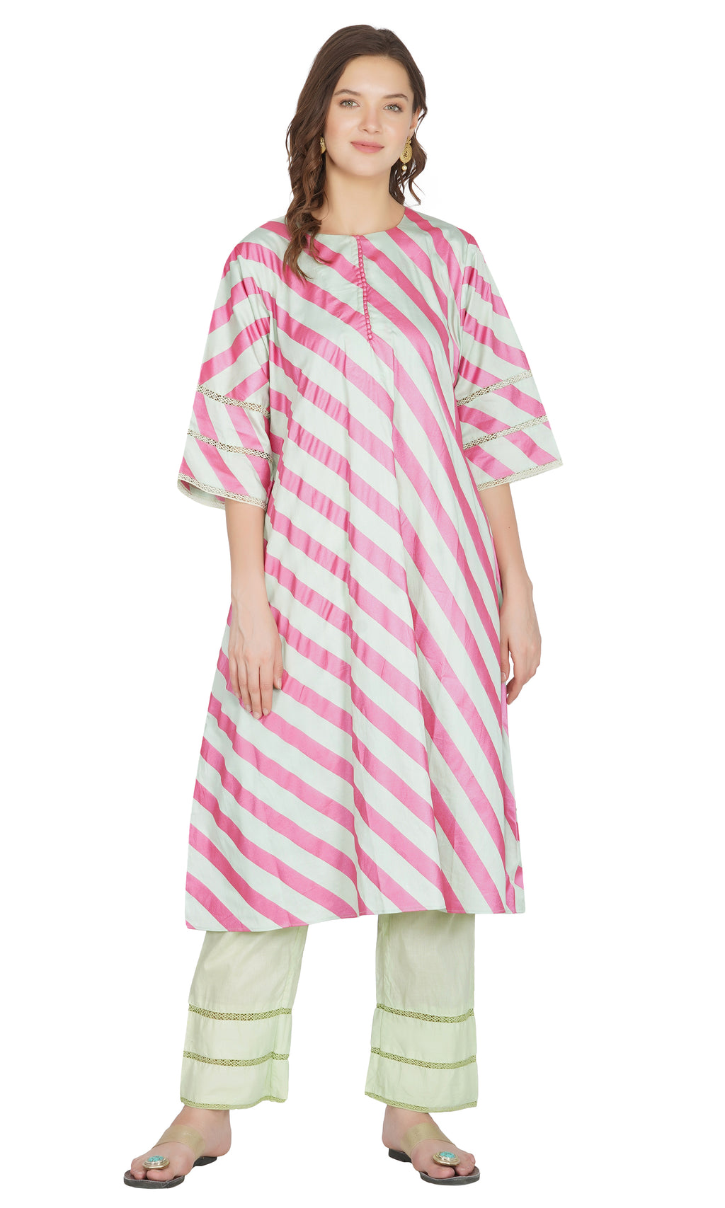 Sea Green Striped Kurta with Pants- Set of 2