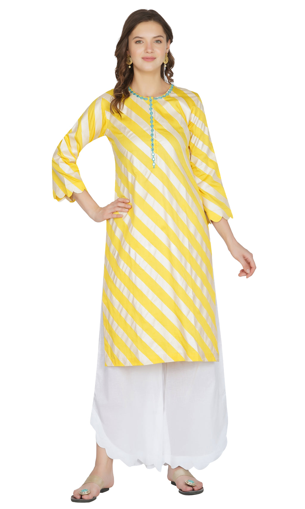 Yellow Striped Suit- Set of 3