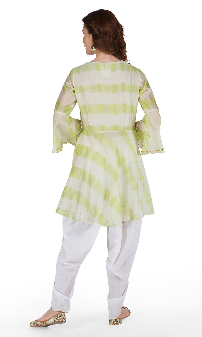 Sea Green Tie and Dye Dhoti Suit - Set of 3