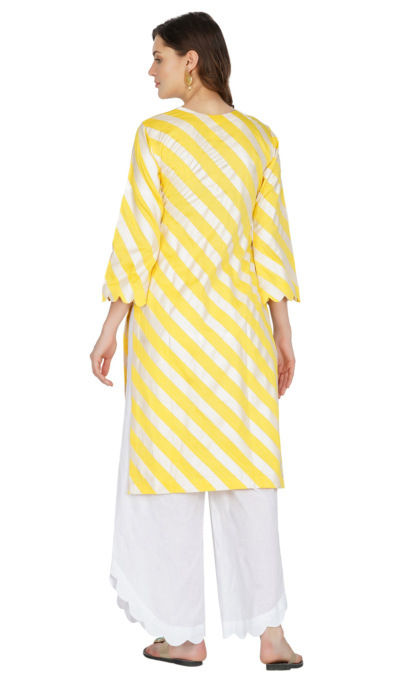 Yellow Striped Mirror work Kurta with Scallop Pants- Set of 2