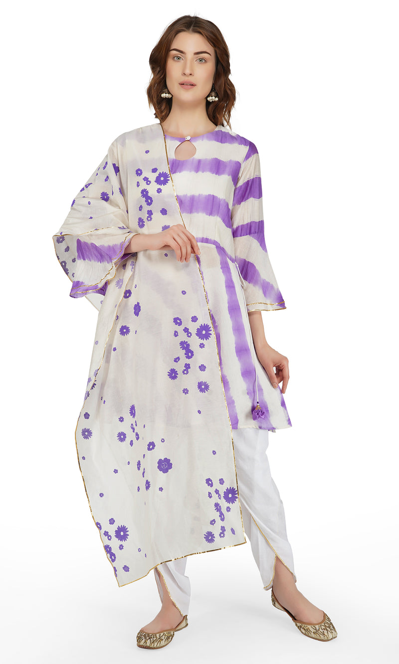 Purple Tie and Dye Dhoti Suit - Set of 3