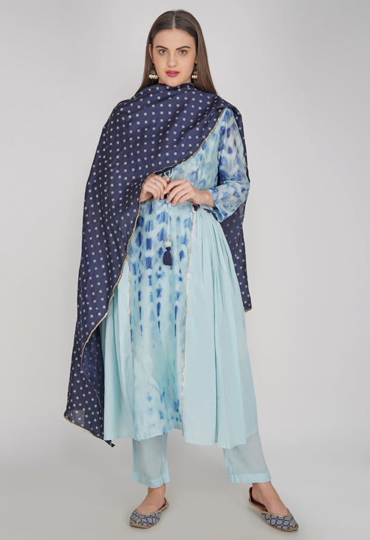 Blue Tie and Dye Chanderi Silk Kurta with Cotton Pants and Hand Block Printed Dupatta - Set of 3