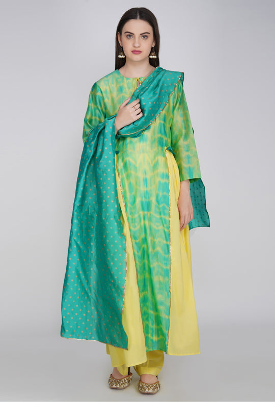 Yellow Green Tie and Dye Chanderi Silk Kurta with Cotton Pants and Hand Block Printed Dupatta - Set of 3