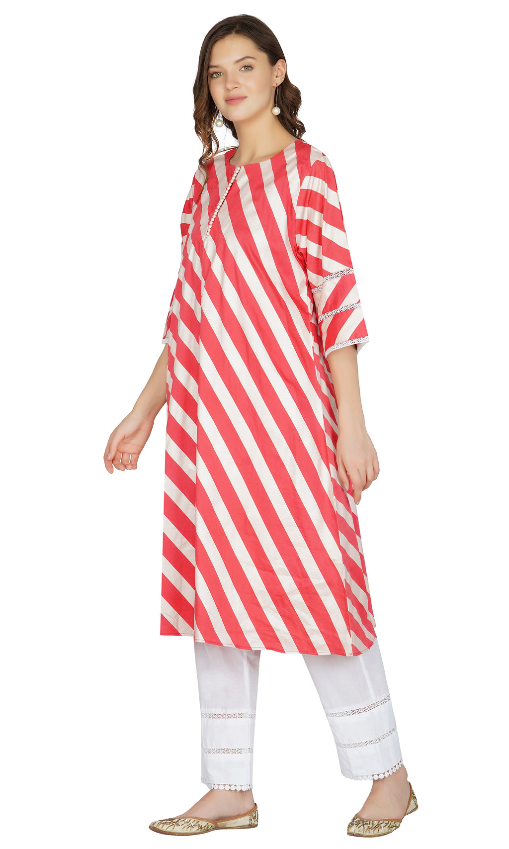 Red Striped Kurta with Pants- Set of 2