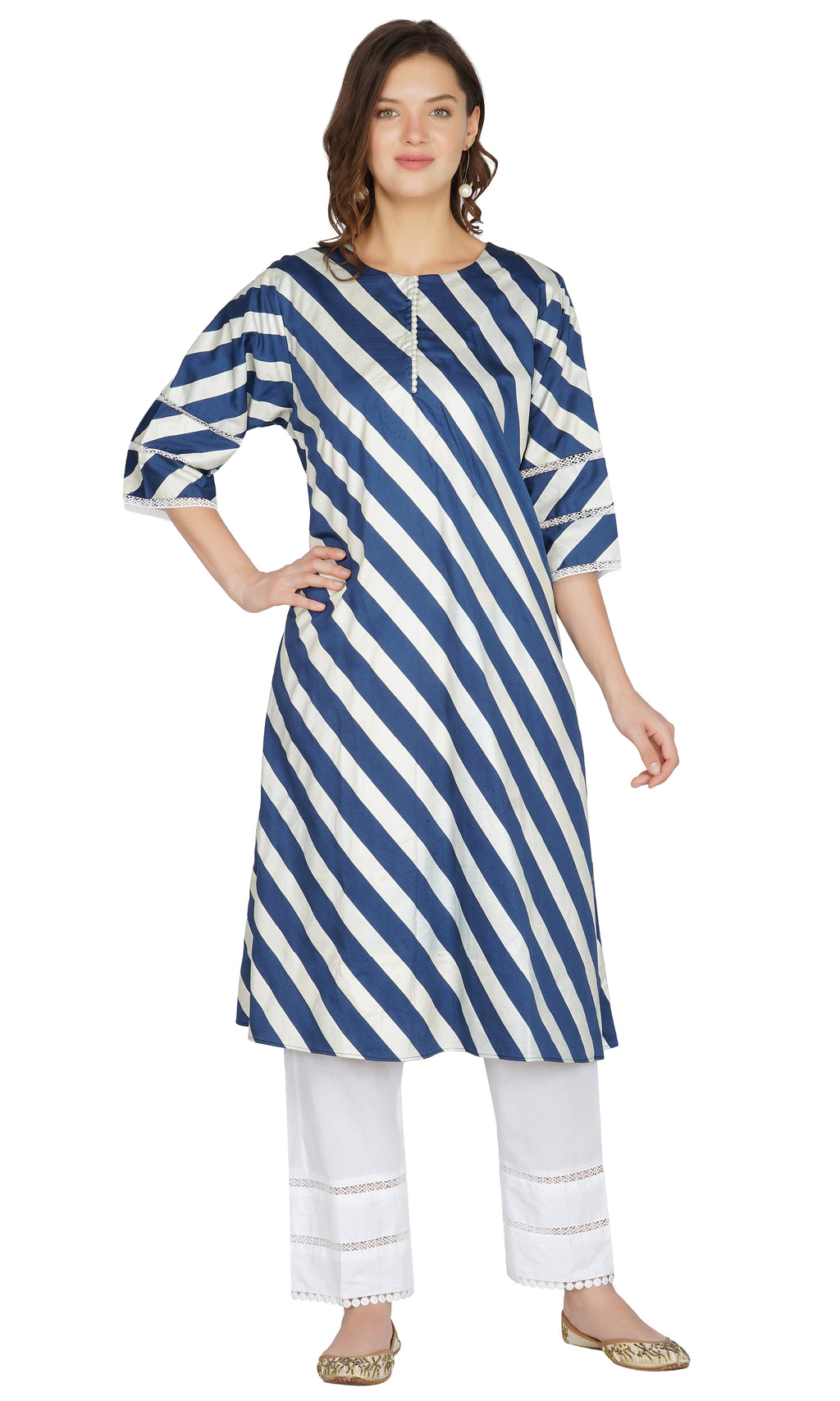 Navy Blue Striped Kurta with Pants- Set of 2