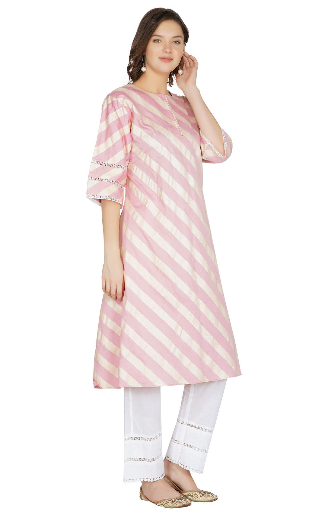 Pink Striped Kurta with Pants- Set of 2