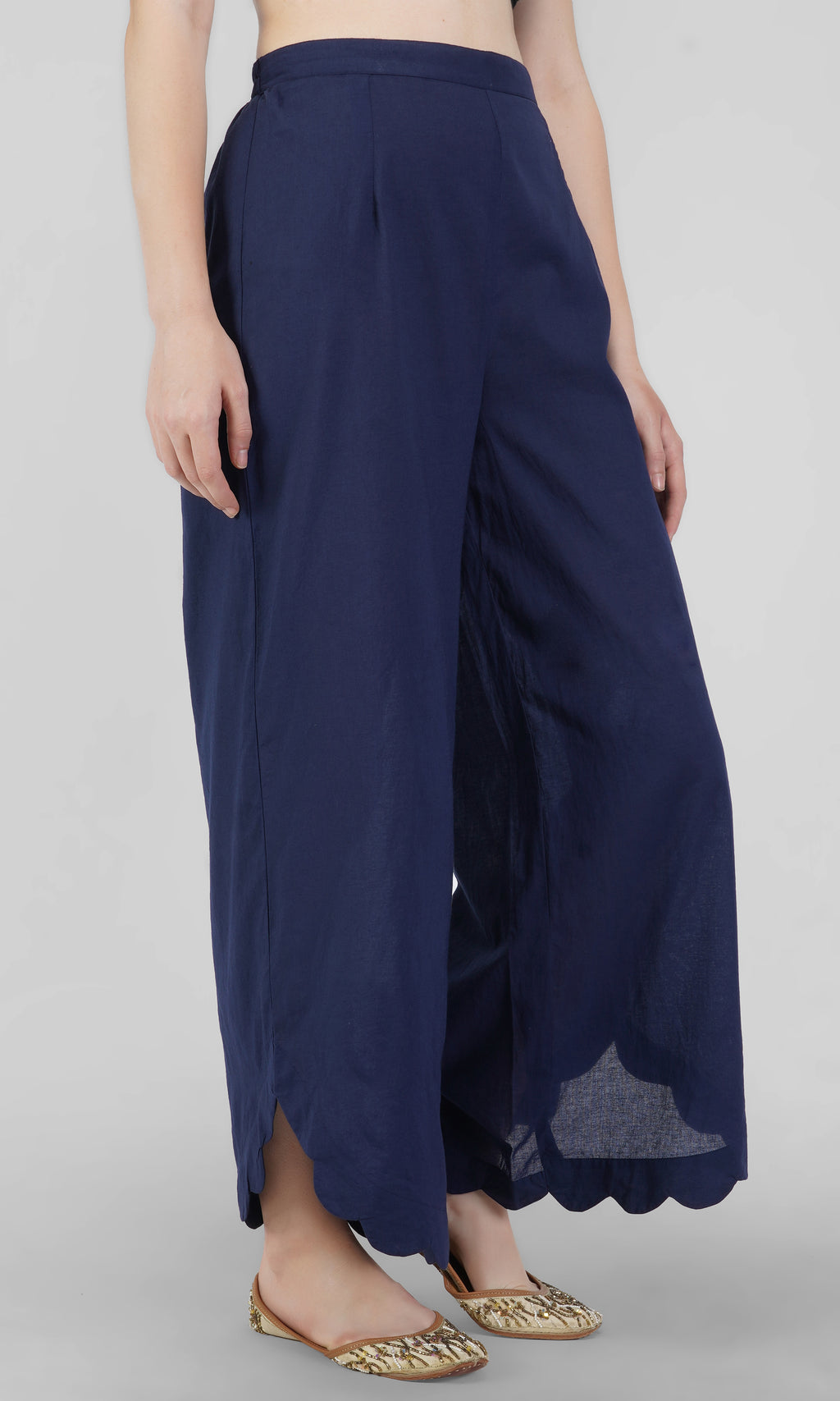 Blue Cotton Scalloped Pants