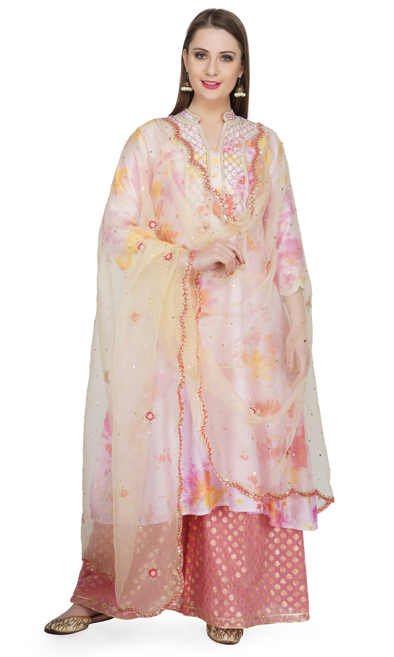Cream Marble Dye Pintucks Kurta - Set of 3