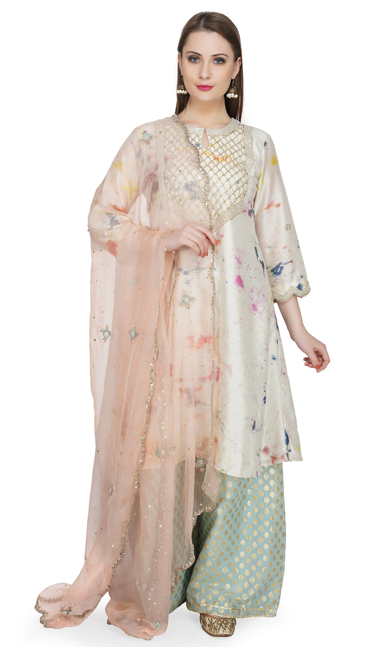 Pink Marble Dye Embroidered Kurta - Set of 3