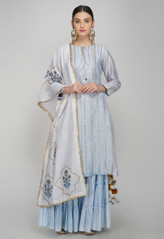Blue Gota Chanderi Silk Kurta with Sharara and Block Printed Dupatta- Set of 3