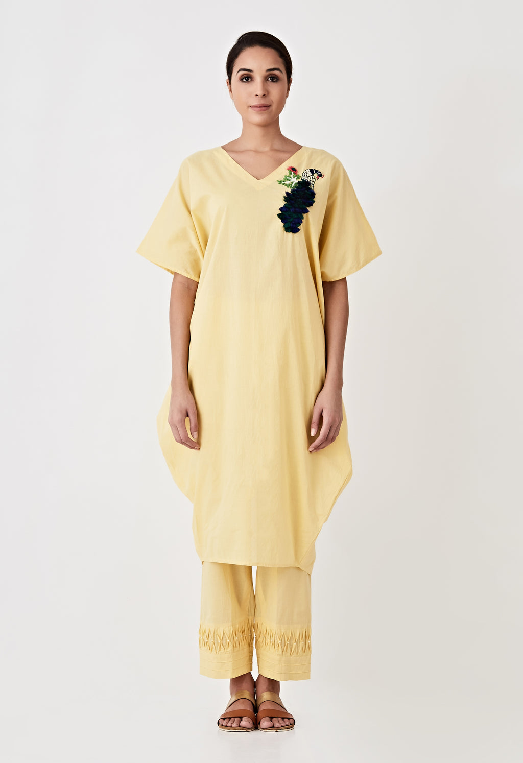Tassel Embroidered Kaftan Set- Yellow