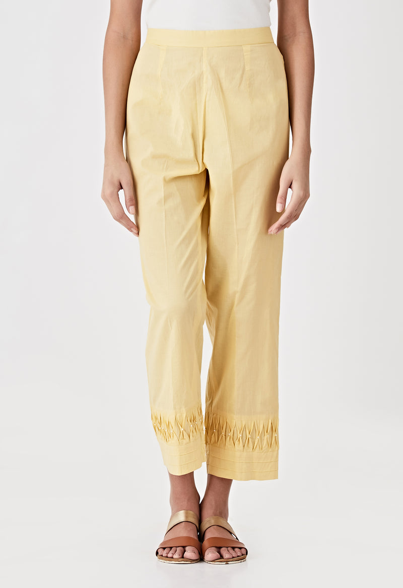 Smocked Detail Pants- Yellow
