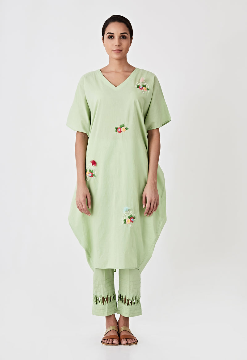 Tassel Embroidered Kaftan Set- Sea Green