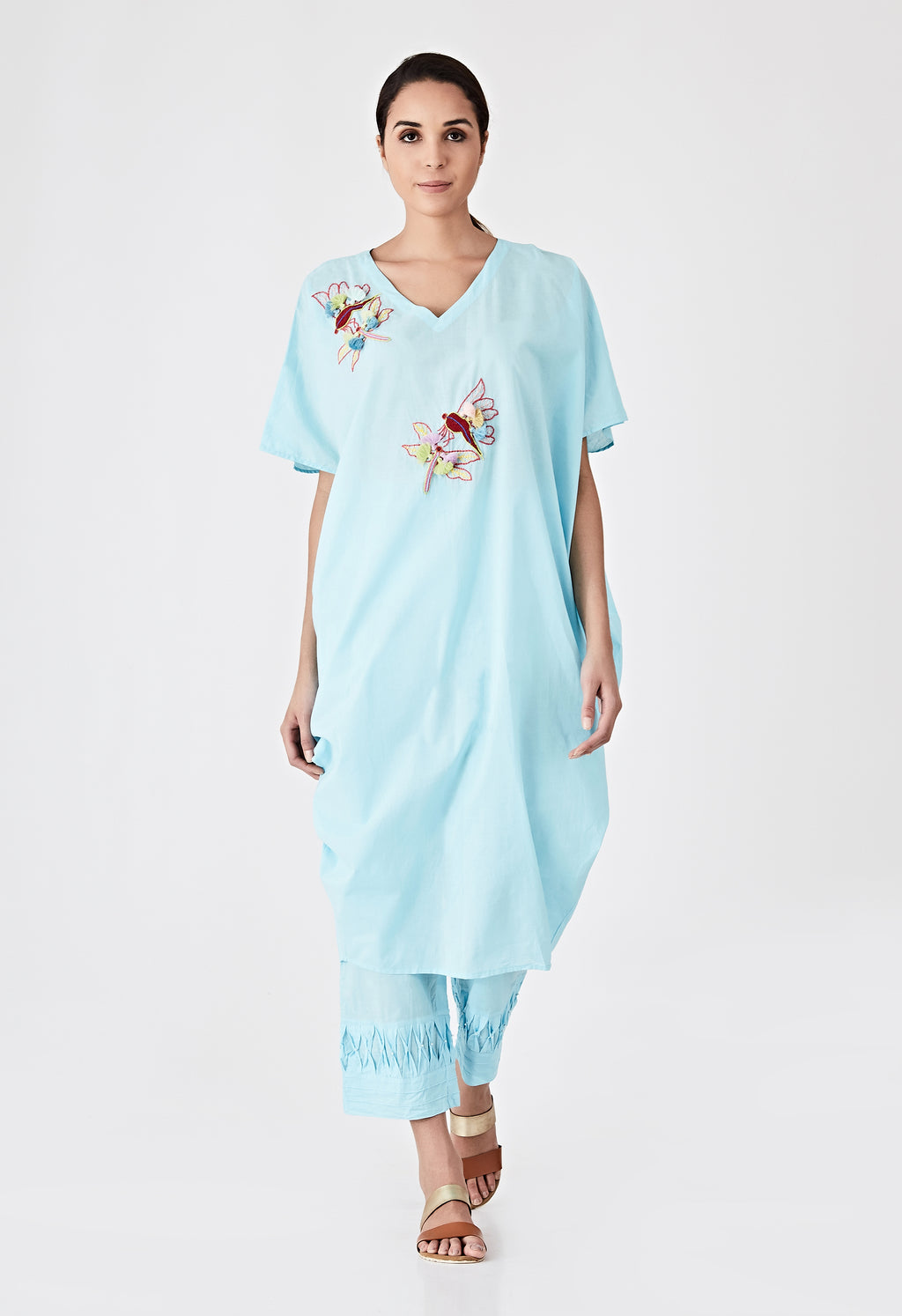 Tassel Embroidered Kaftan Set-Blue