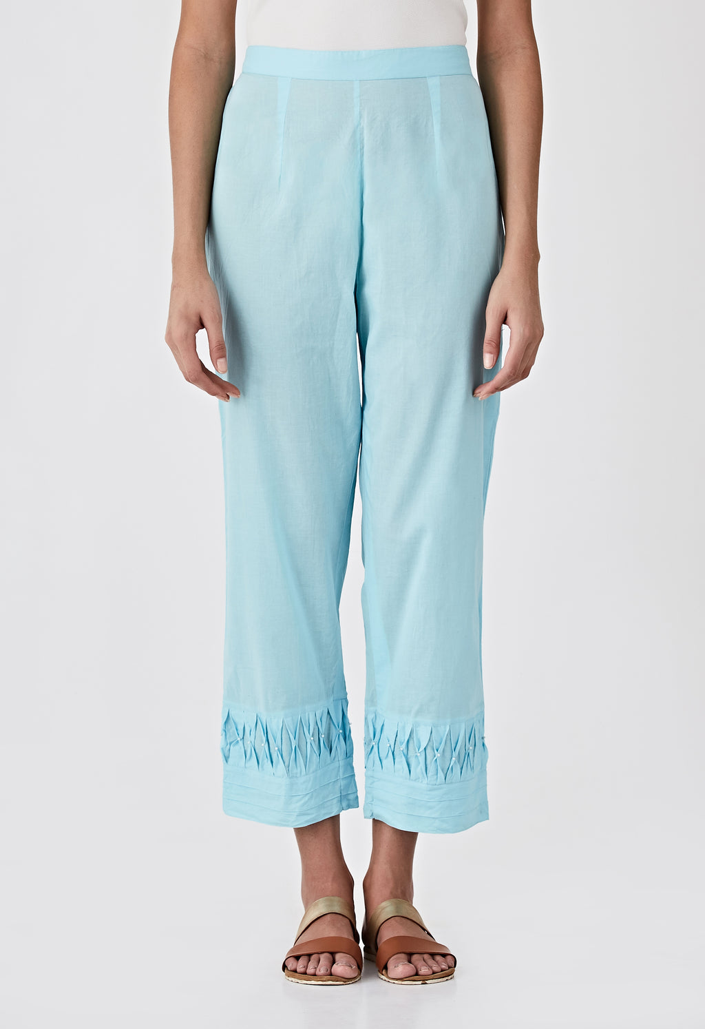 Smocked Detail Pants- Blue