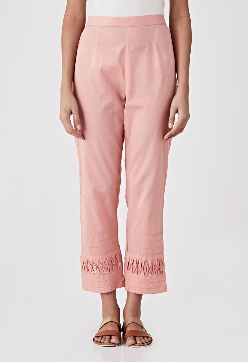Smocked Detail Pants- Rose