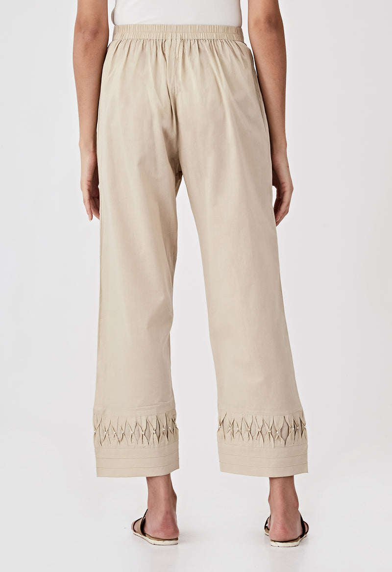 Smocked Detail Pants-Beige