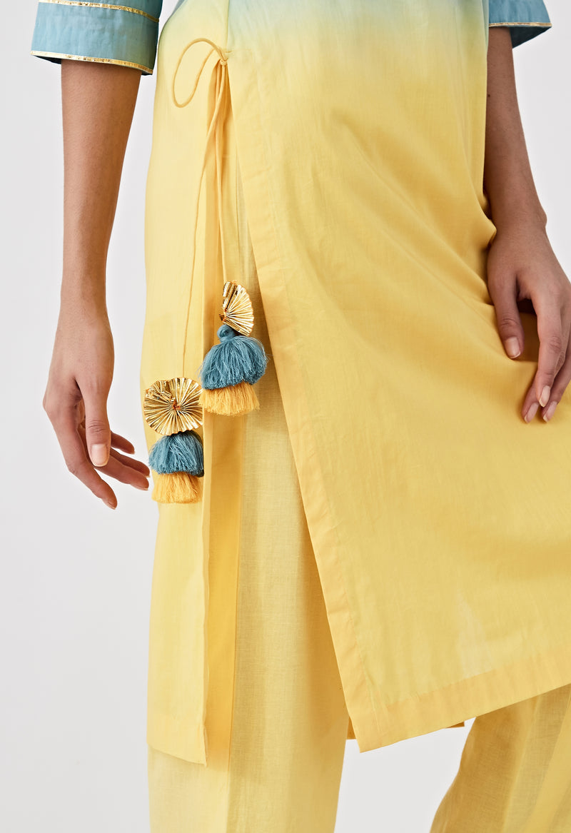 Ombre Straight Kurta - Blue & Yellow