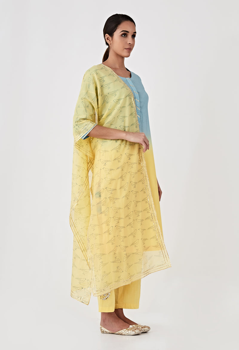 Block Printed Dupatta - Blue