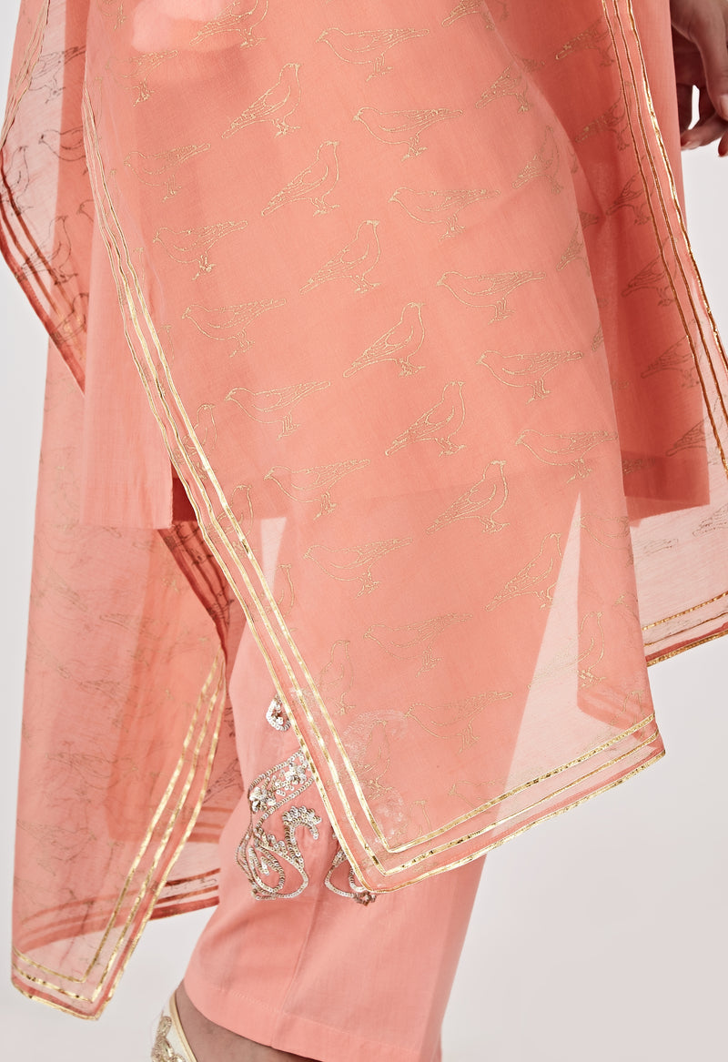 Block Printed Dupatta - Peach