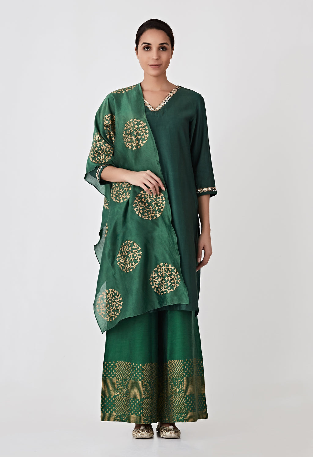 Block Printed Co-Ord Set- Green