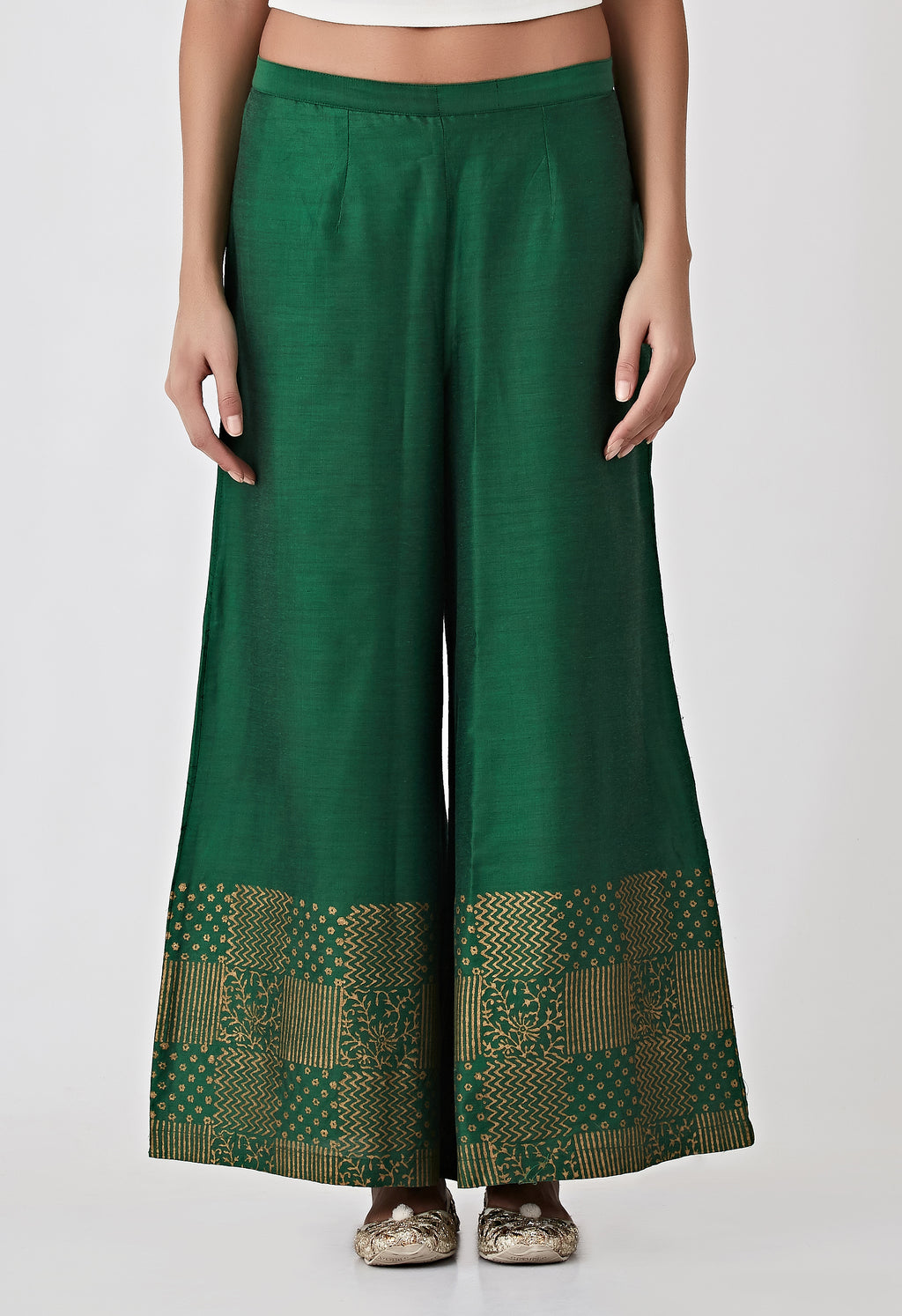 Block Printed Plazzo Pants-Green