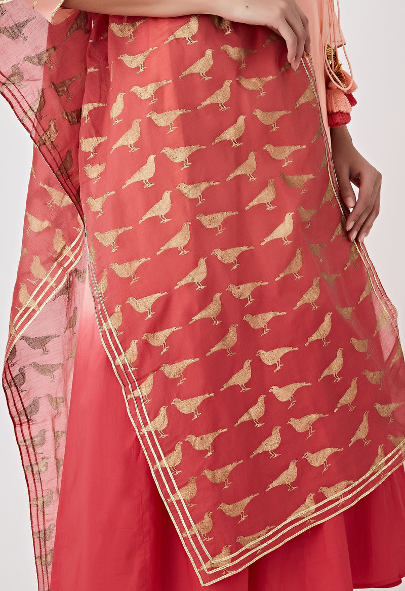 Ombre Angarkha Set - Peach & Red