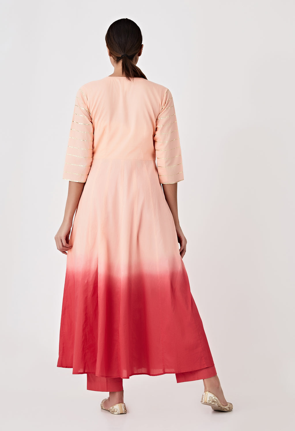Ombre Angarkha Kurta - Peach & Red