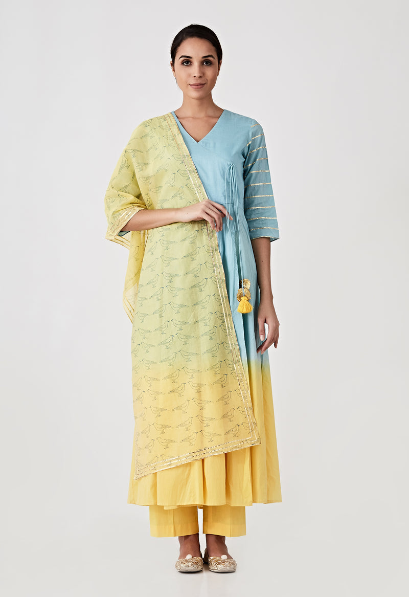 Ombre Angarkha Set - Blue & Yellow