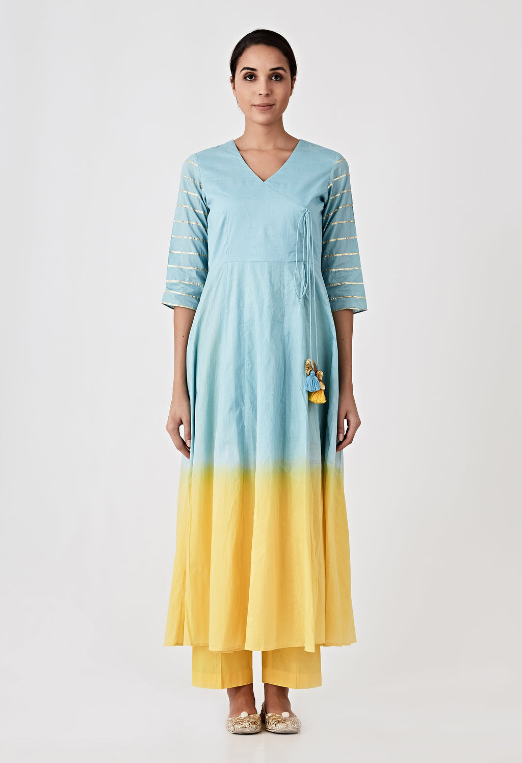 Ombre Angarkha Kurta - Blue & Yellow