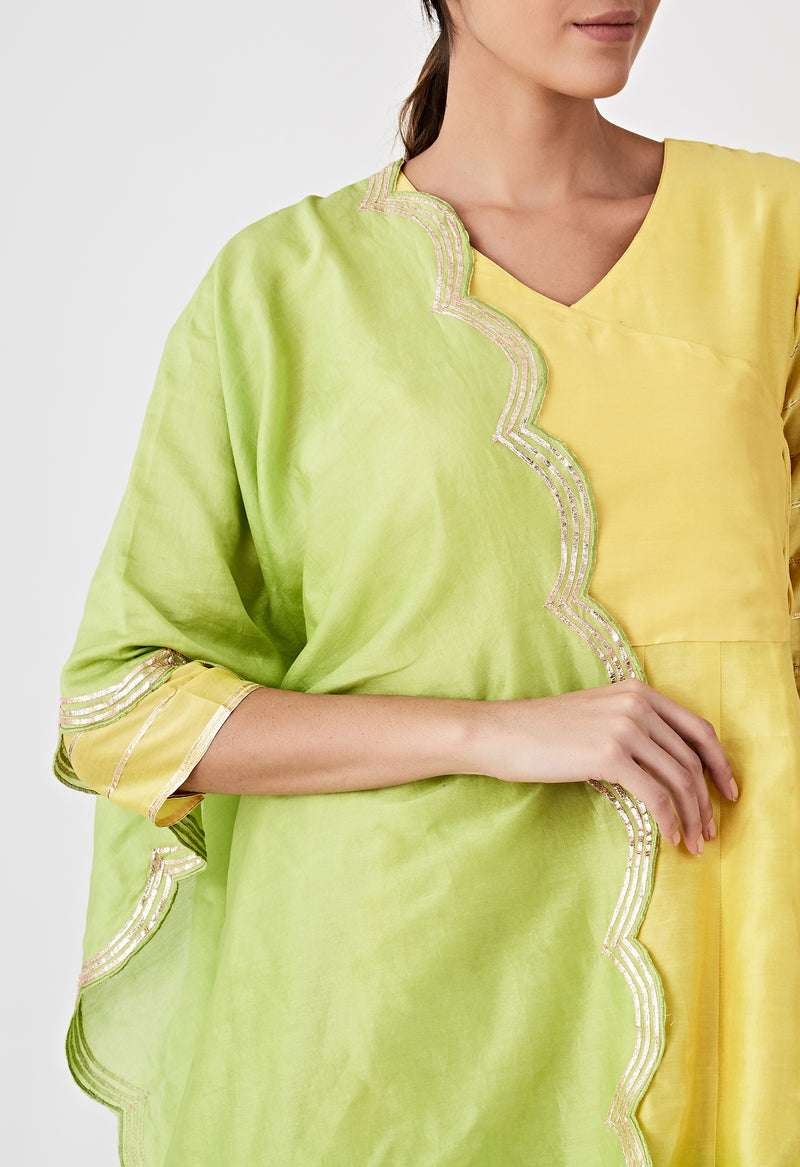 Ombre Angarkha Set - Yellow & Green