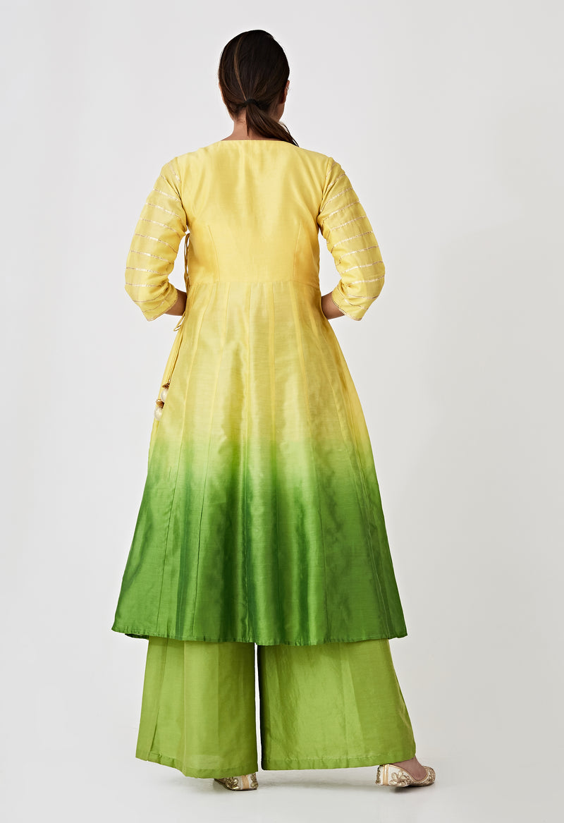 Ombre Angarkha Kurta - Yellow & Green