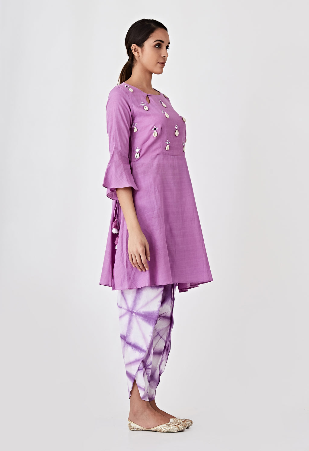 Kori Embroidery Kurta - Purple