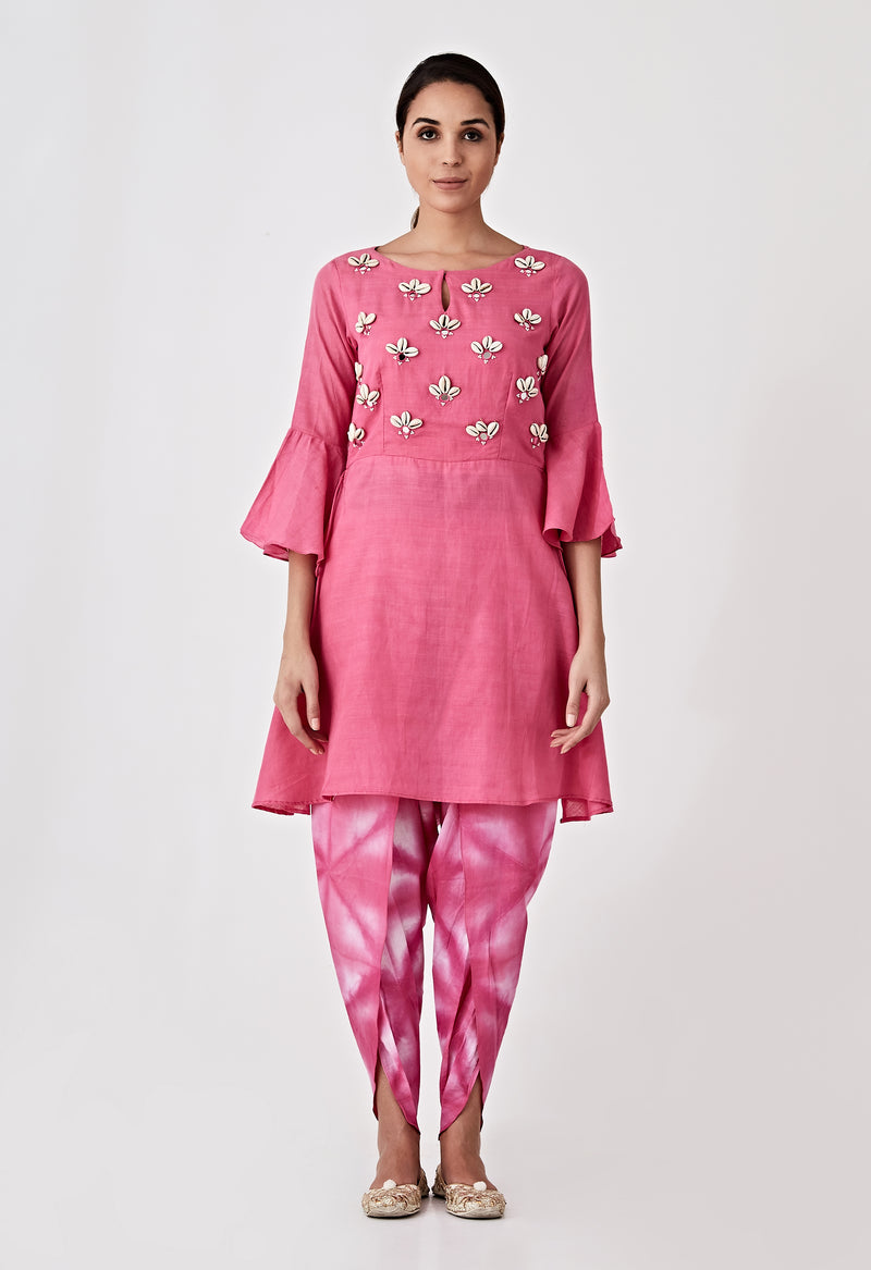 Kori Embroidery Kurta - Yellow